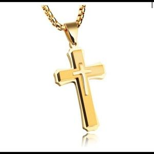 GoldIp Matt Cross Necklace